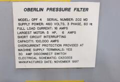Oberlin #OPF-4 fully automatic coolant pressure filter system for chip processing